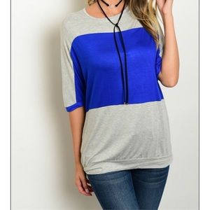 Sale Heather Grey Royal Blue Top